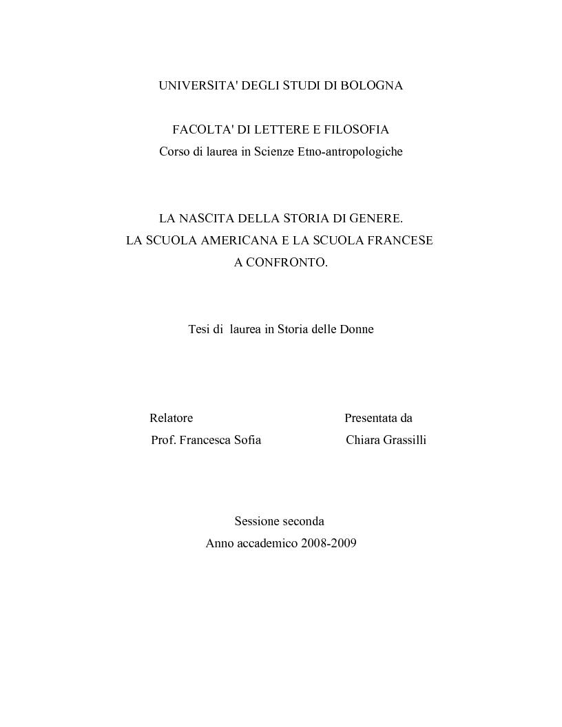 Anteprima della tesi: La nascita della storia di genere. La scuola americana e quella francese a confronto., Pagina 1
