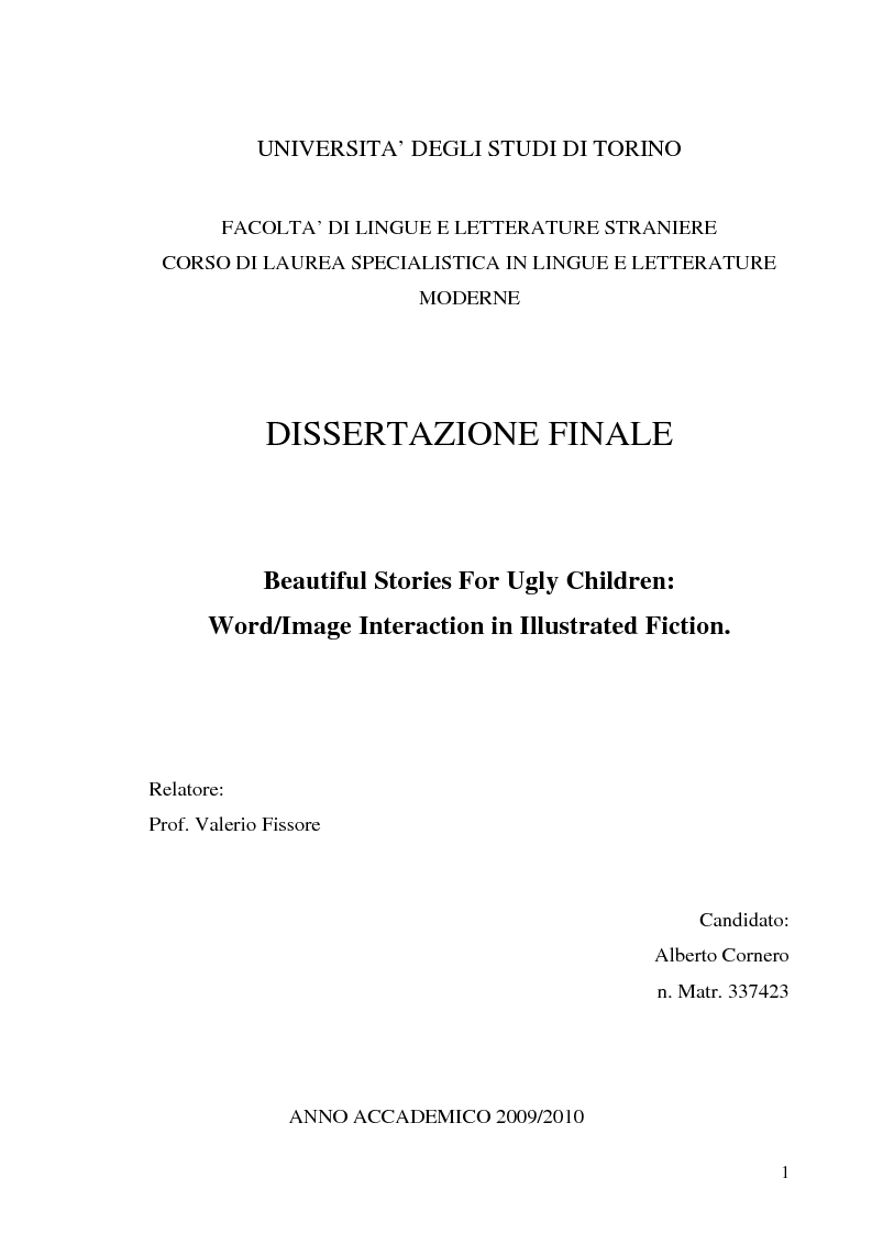 Anteprima della tesi: Beautiful Stories For Ugly Children: Word/Image Interaction in Illustrated Fiction, Pagina 1