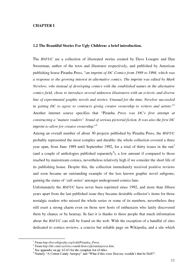 Anteprima della tesi: Beautiful Stories For Ugly Children: Word/Image Interaction in Illustrated Fiction, Pagina 2