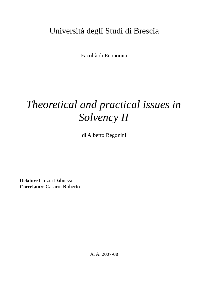 Anteprima della tesi: Theoretical and practical issues in Solvency II, Pagina 1