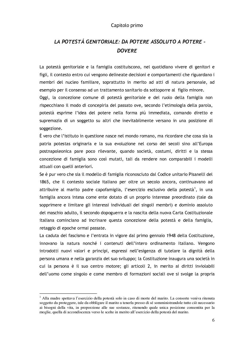 Anteprima della tesi: Il consenso ai trattamenti sanitari per i minori, Pagina 2