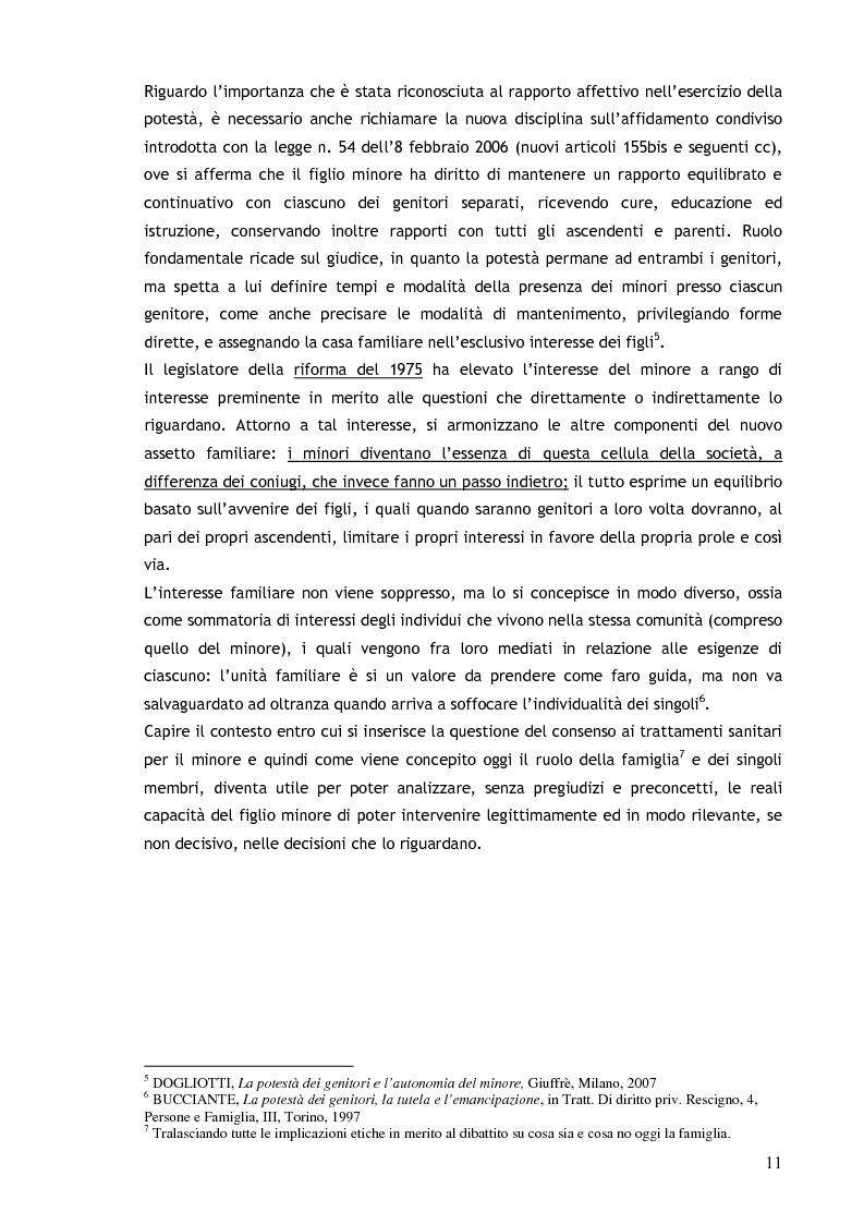 Anteprima della tesi: Il consenso ai trattamenti sanitari per i minori, Pagina 7