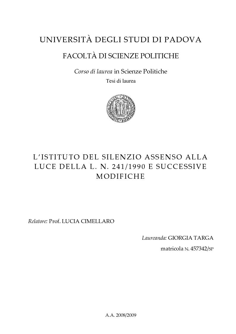 Anteprima della tesi: L'Istituto del Silenzio Assenso alla luce della L. n. 241/1990 e successive modifiche, Pagina 1