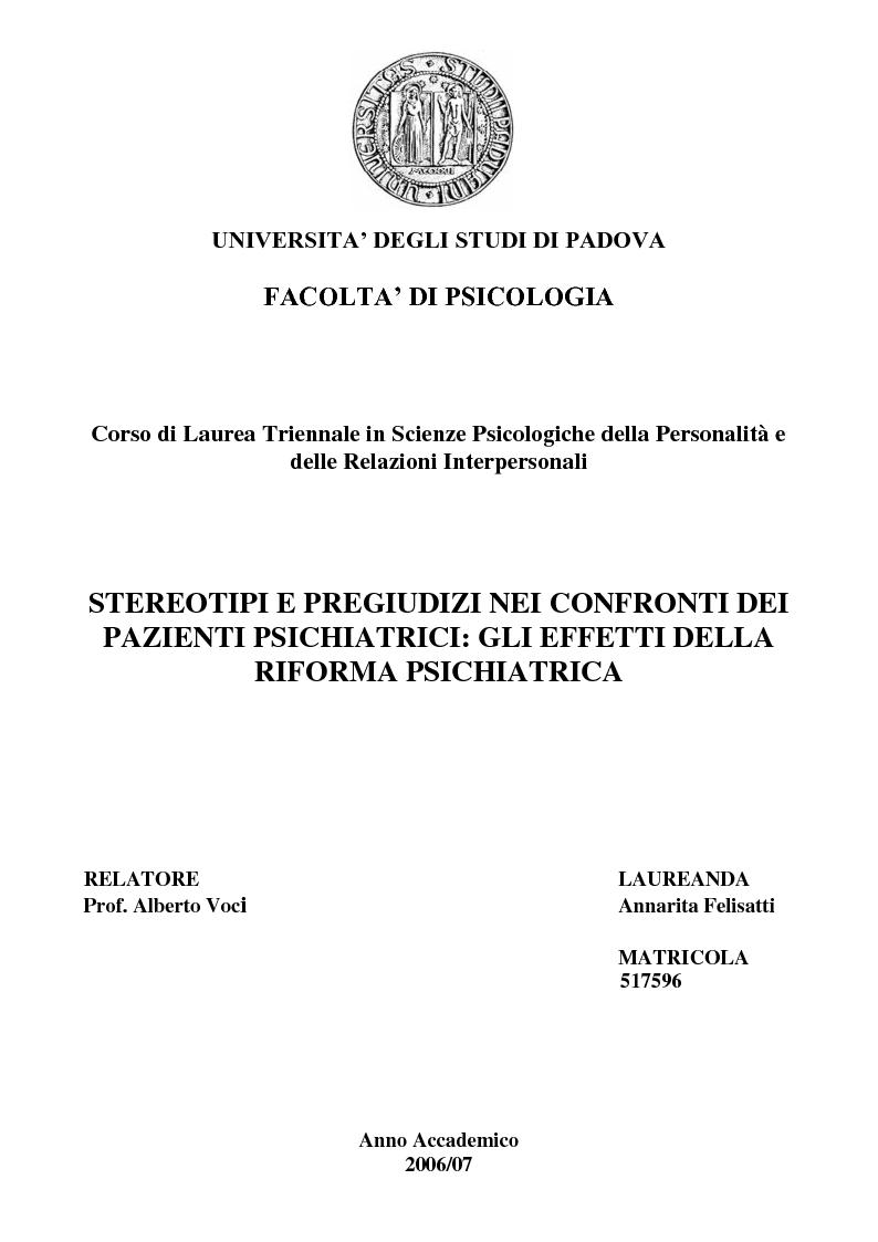 Anteprima della tesi: Stereotipi e pregiudizi nei confronti dei pazienti psichiatrici: gli effetti della riforma psichiatrica, Pagina 1