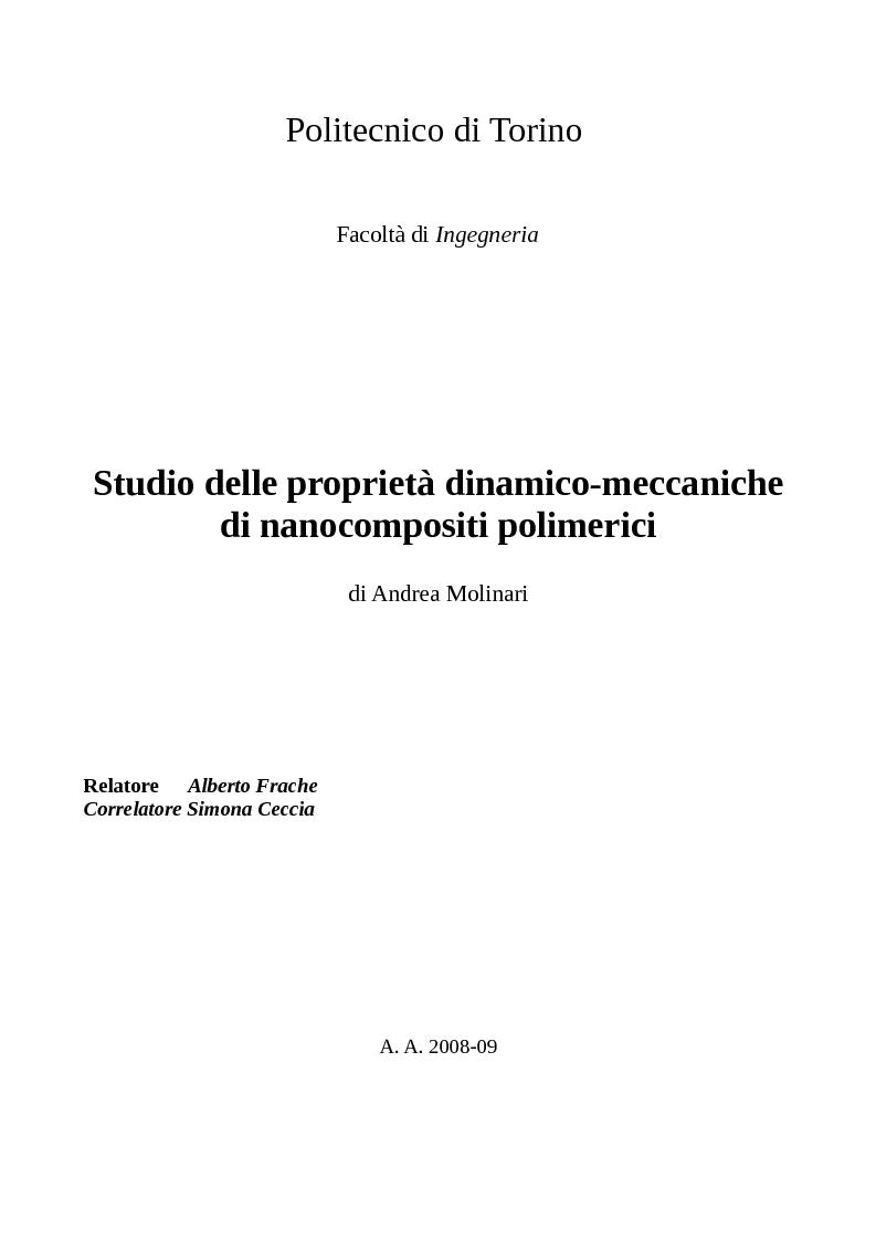 Anteprima della tesi: Studio delle proprietà dinamico-meccaniche di nanocompositi polimerici, Pagina 1