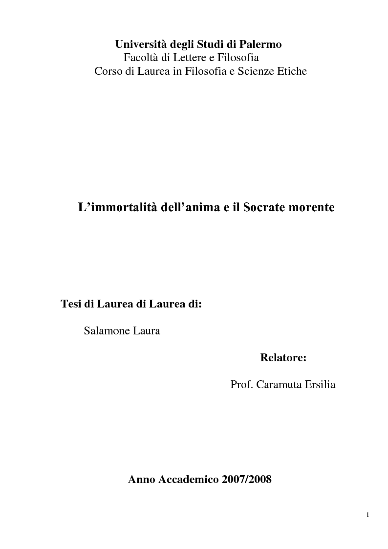 Anteprima della tesi: L'immortalità dell'anima e il Socrate morente, Pagina 1