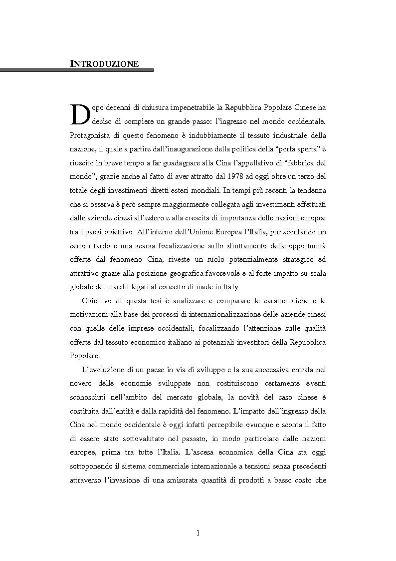Anteprima della tesi: L'ingresso della Cina in Occidente. Strategie bidirezionali di internazionalizzazione delle imprese. Ipotesi teoriche e casi esemplificativi, Pagina 2
