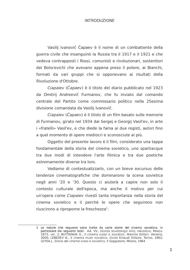 Anteprima della tesi: ''Ciapaiev'' tra l'Unione Sovietica e l'Occidente, Pagina 2