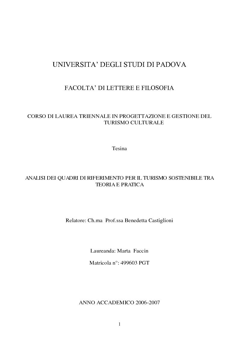 Anteprima della tesi: Analisi dei quadri di riferimento per il turismo sostenibile tra teoria e pratica, Pagina 1