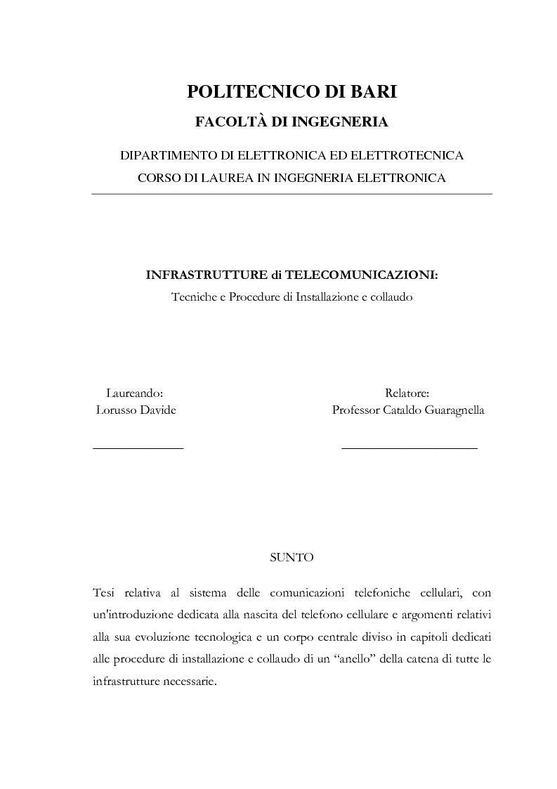 Anteprima della tesi: Infrastrutture di telecomunicazioni: tecniche e procedure di installazione e collaudo, Pagina 1