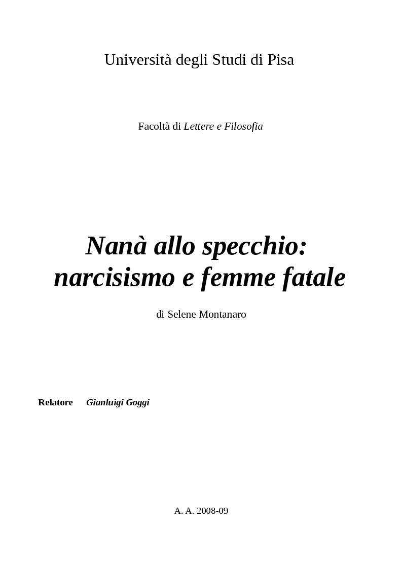Anteprima della tesi: Nanà allo specchio: narcisismo e femme fatale, Pagina 1