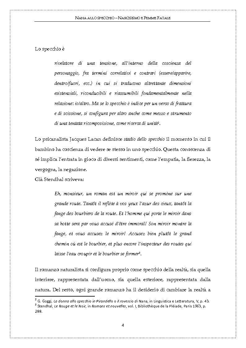Anteprima della tesi: Nanà allo specchio: narcisismo e femme fatale, Pagina 3