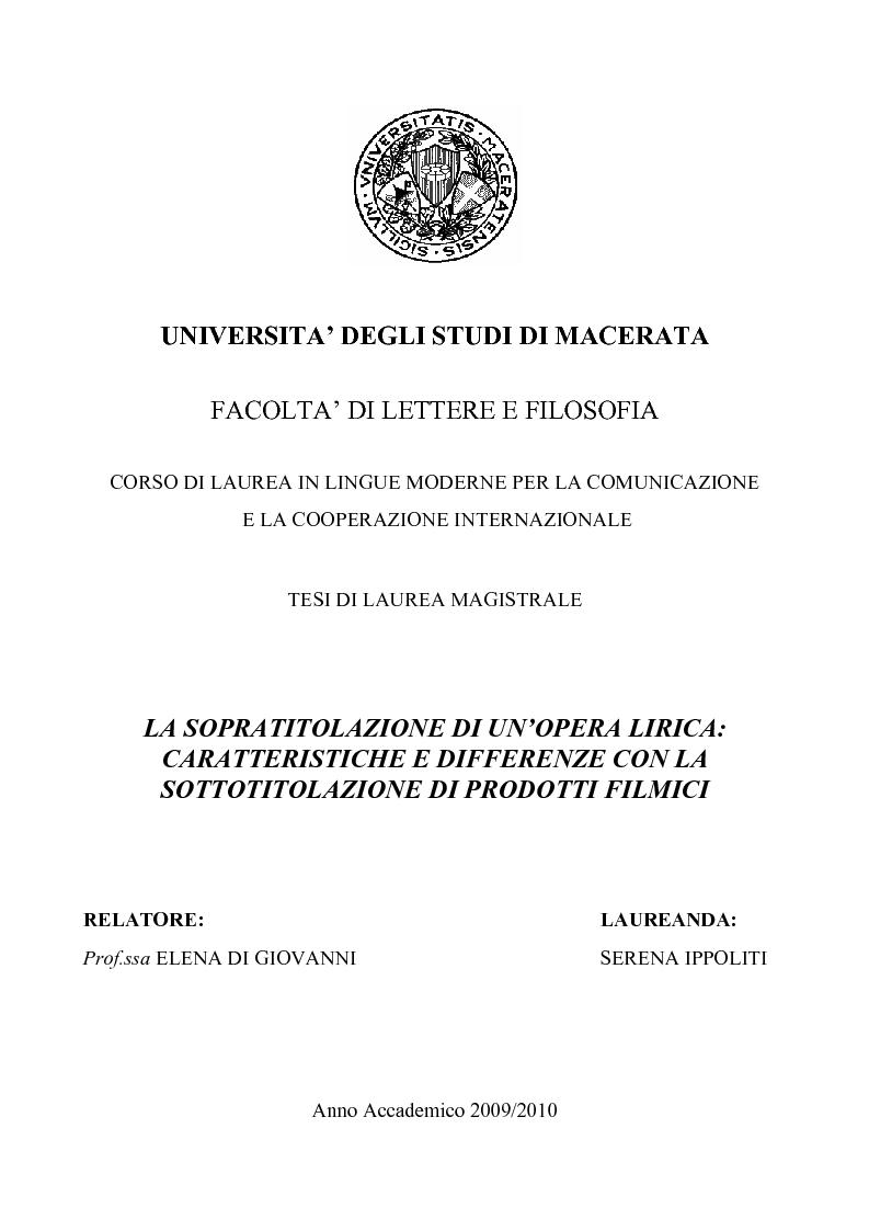 Anteprima della tesi: La sopratitolazione di un'opera lirica: caratteristiche e differenze con la sottotitolazione di prodotti filmici, Pagina 1