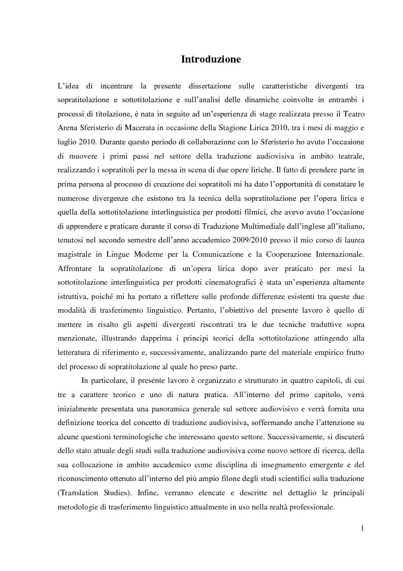 Anteprima della tesi: La sopratitolazione di un'opera lirica: caratteristiche e differenze con la sottotitolazione di prodotti filmici, Pagina 2