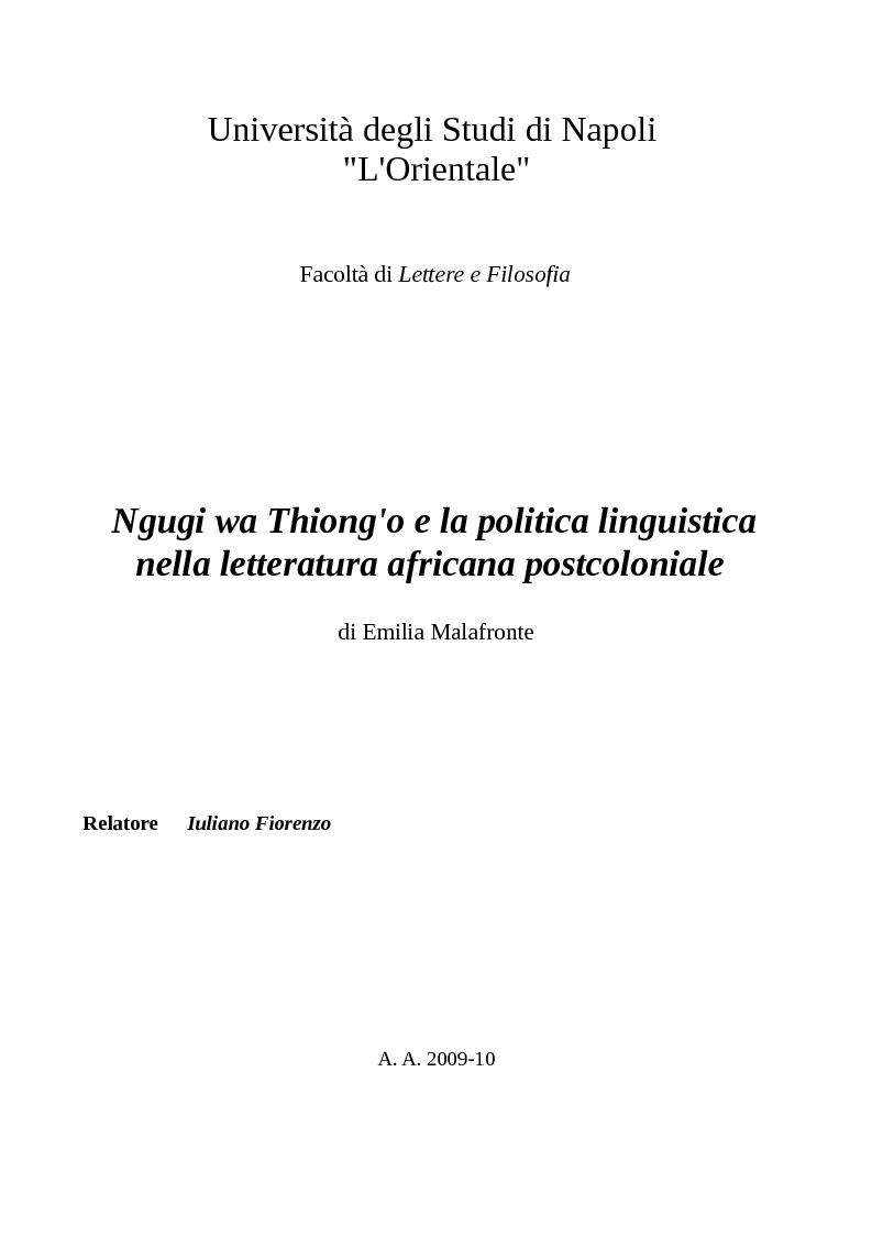 Anteprima della tesi: Ngugi wa Thiong'o e la politica linguistica nella letteratura africana postcoloniale, Pagina 1