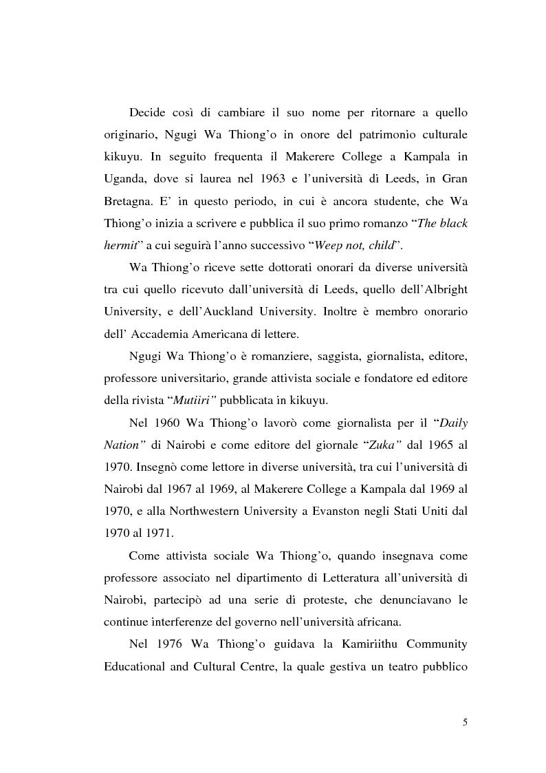 Anteprima della tesi: Ngugi wa Thiong'o e la politica linguistica nella letteratura africana postcoloniale, Pagina 3