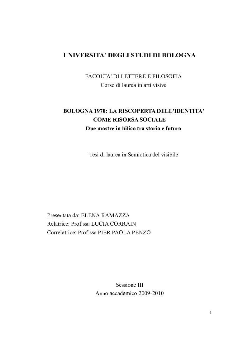 Anteprima della tesi: Bologna 1970. La riscoperta dell'identità come risorsa sociale, Pagina 1