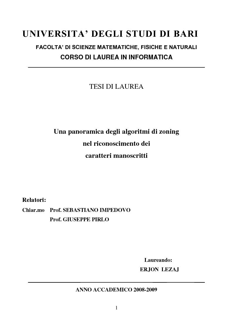 Anteprima della tesi: Una panoramica degli algoritmi di zoning nel riconoscimento dei caratteri manoscritti, Pagina 1