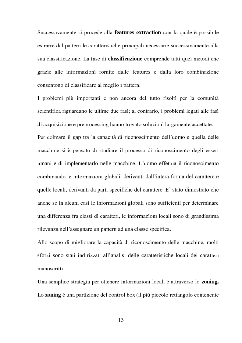 Anteprima della tesi: Una panoramica degli algoritmi di zoning nel riconoscimento dei caratteri manoscritti, Pagina 9