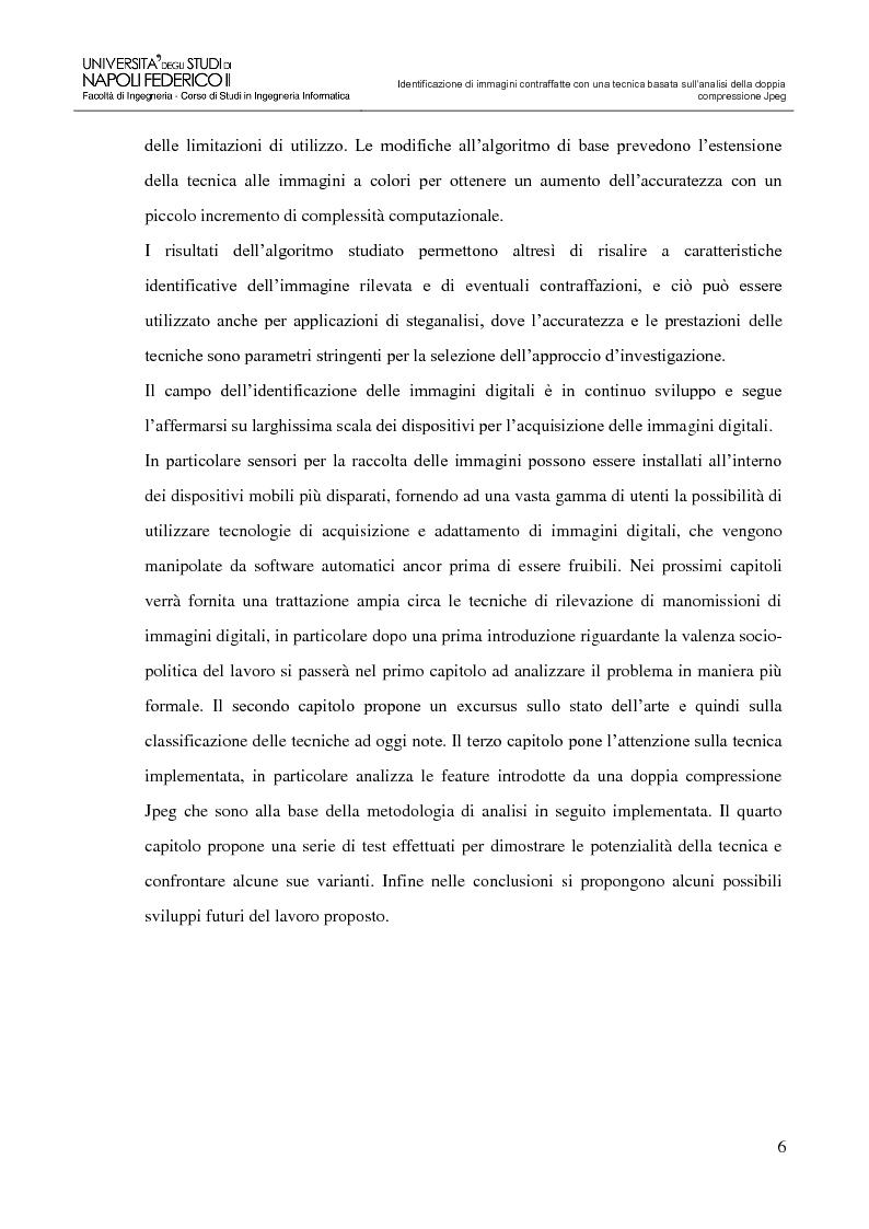 Anteprima della tesi: Identificazione di immagini contraffatte con una tecnica basata sull'analisi della doppia compressione Jpeg nello spazio di colori YCbCr, Pagina 3