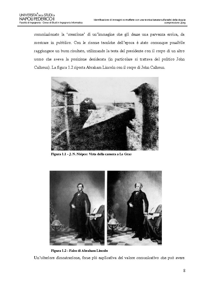 Anteprima della tesi: Identificazione di immagini contraffatte con una tecnica basata sull'analisi della doppia compressione Jpeg nello spazio di colori YCbCr, Pagina 5