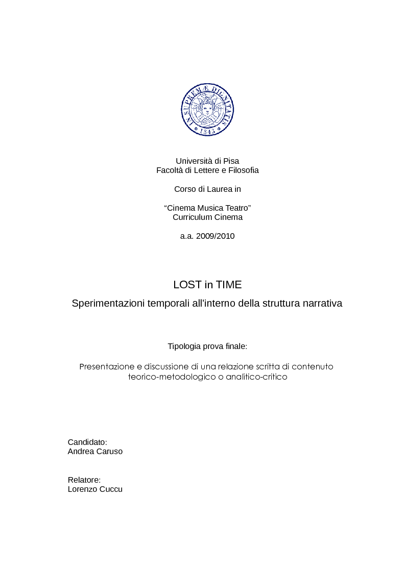 Anteprima della tesi: LOST in TIME: sperimentazioni temporali all'interno della struttura narrativa, Pagina 1