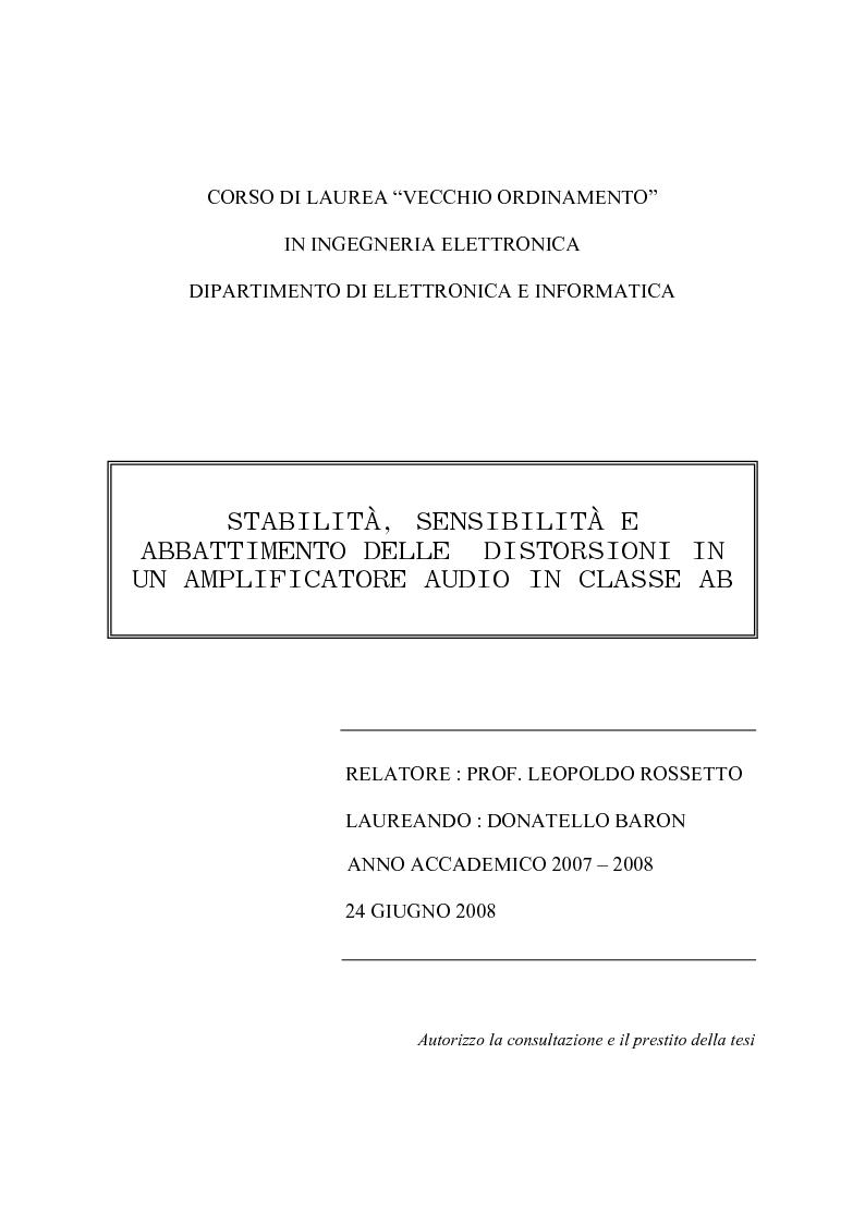 Anteprima della tesi: Stabilità, sensibilità e abbattimento delle distorsioni in un amplificatore audio in classe AB, Pagina 1
