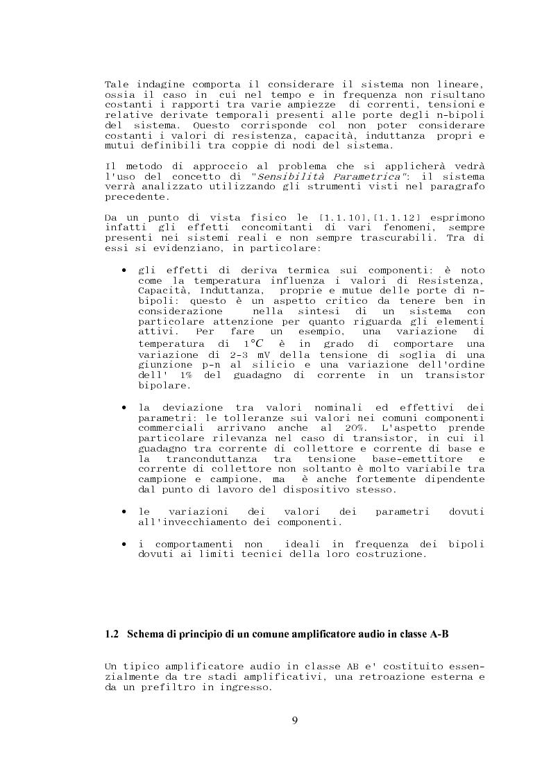 Anteprima della tesi: Stabilità, sensibilità e abbattimento delle distorsioni in un amplificatore audio in classe AB, Pagina 10