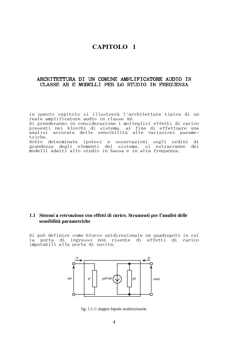 Anteprima della tesi: Stabilità, sensibilità e abbattimento delle distorsioni in un amplificatore audio in classe AB, Pagina 5