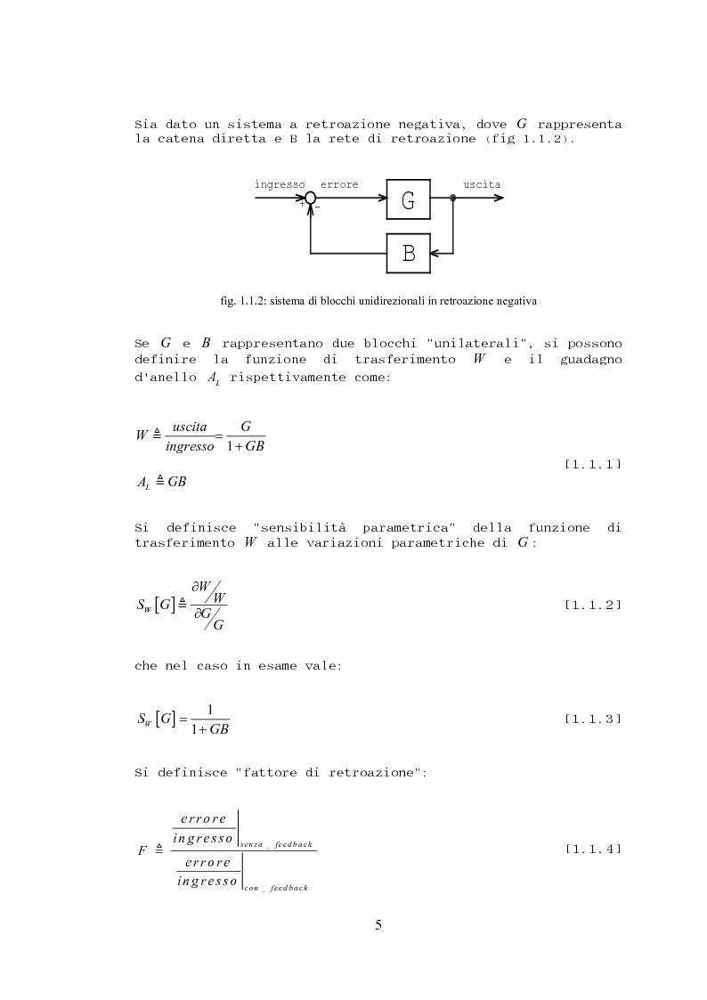 Anteprima della tesi: Stabilità, sensibilità e abbattimento delle distorsioni in un amplificatore audio in classe AB, Pagina 6