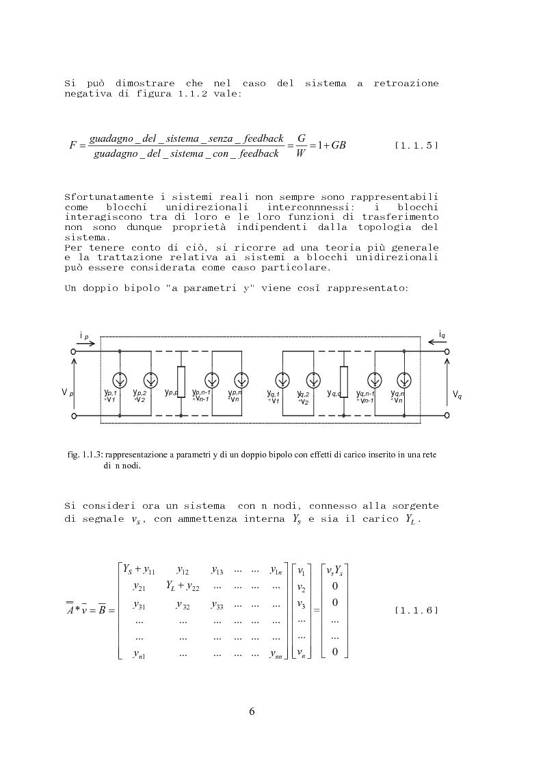 Anteprima della tesi: Stabilità, sensibilità e abbattimento delle distorsioni in un amplificatore audio in classe AB, Pagina 7