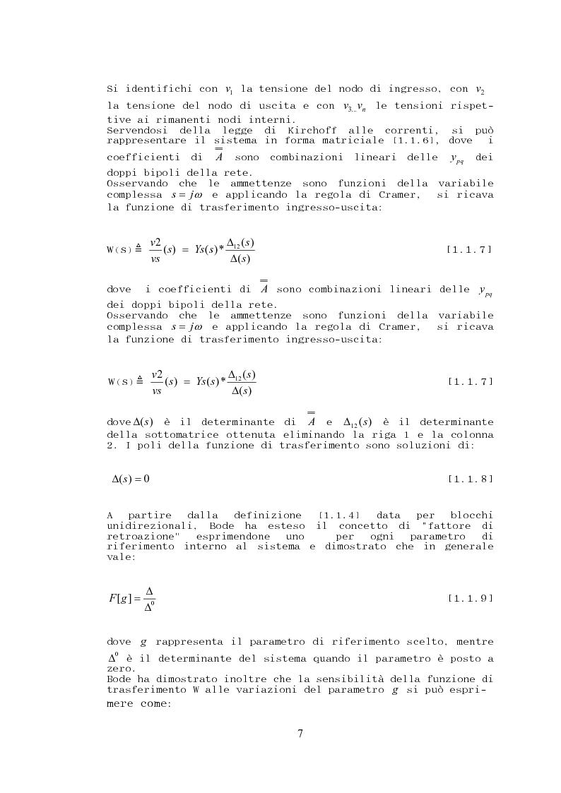 Anteprima della tesi: Stabilità, sensibilità e abbattimento delle distorsioni in un amplificatore audio in classe AB, Pagina 8