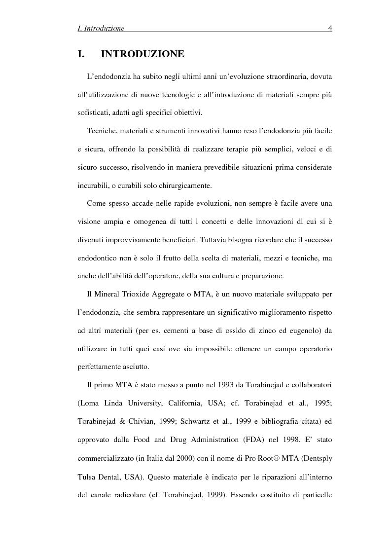 Anteprima della tesi: Il Mineral Trioxide Aggregate: analisi chimico-fisica, batteriologica e applicazioni cliniche, Pagina 2