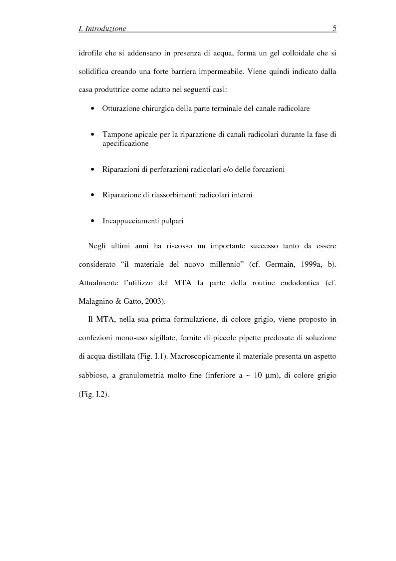 Anteprima della tesi: Il Mineral Trioxide Aggregate: analisi chimico-fisica, batteriologica e applicazioni cliniche, Pagina 3