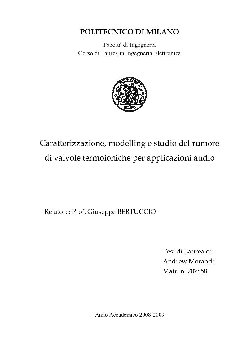 Anteprima della tesi: Caratterizzazione, modelling e studio del rumore di valvole termoioniche per applicazioni audio, Pagina 1