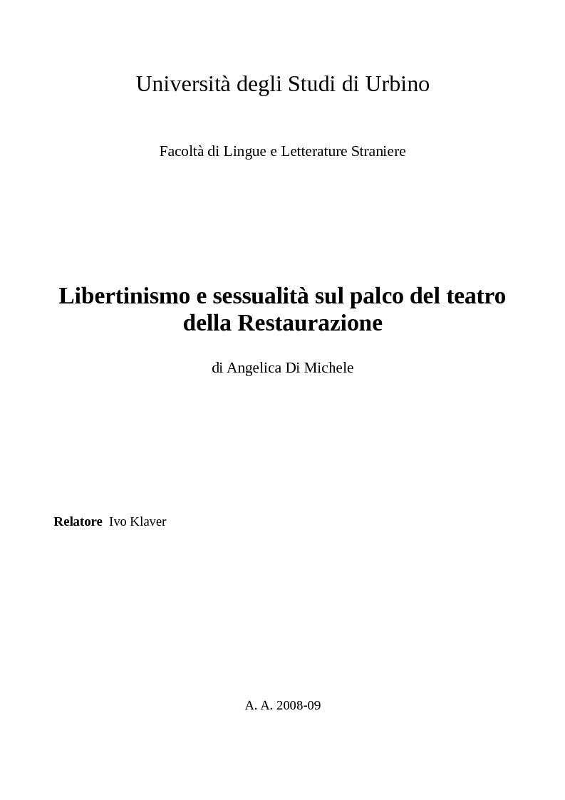 Anteprima della tesi: Libertinismo e sessualità sul palco del teatro della Restaurazione, Pagina 1