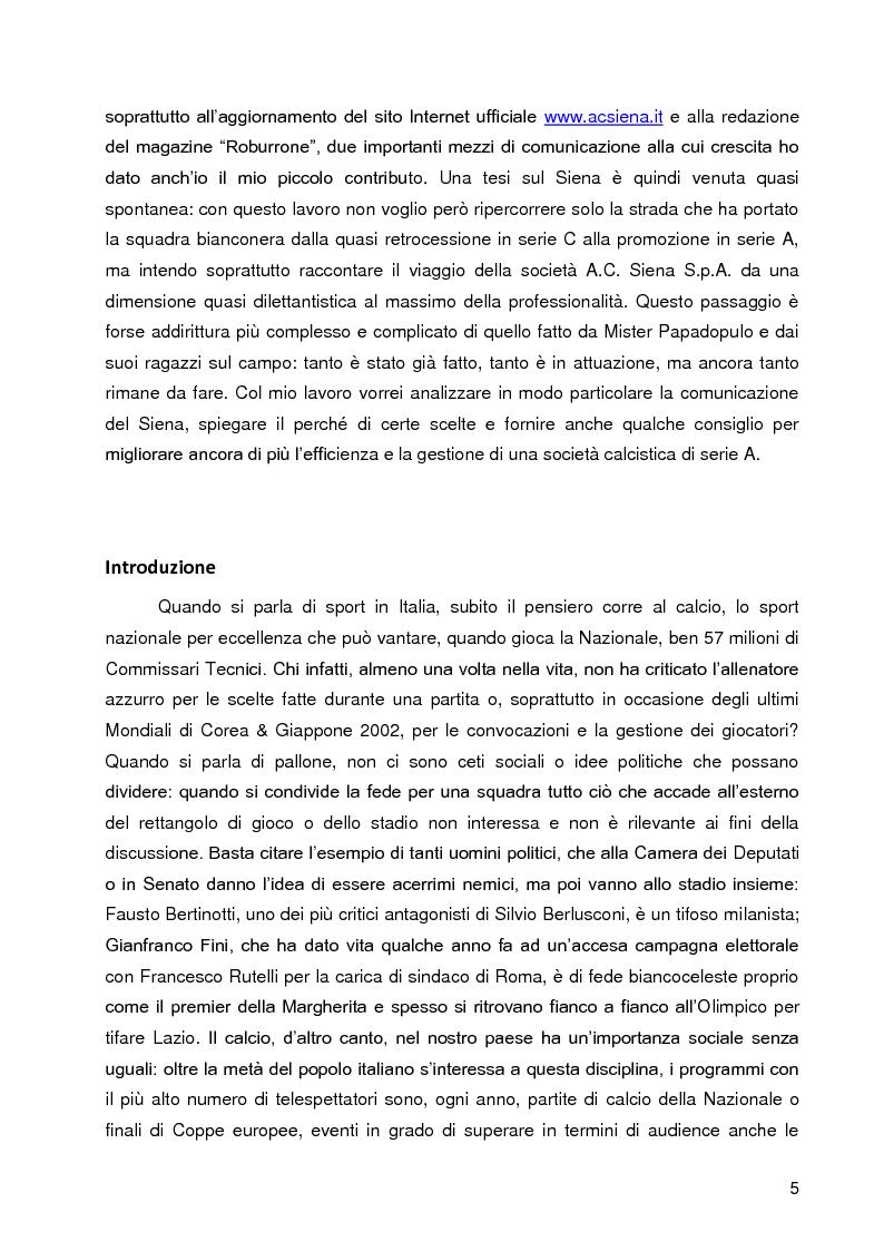 Anteprima della tesi: Progetto A.C. Siena: l'evoluzione della società e il ruolo strategico della comunicazione per la sfida della serie A, Pagina 3