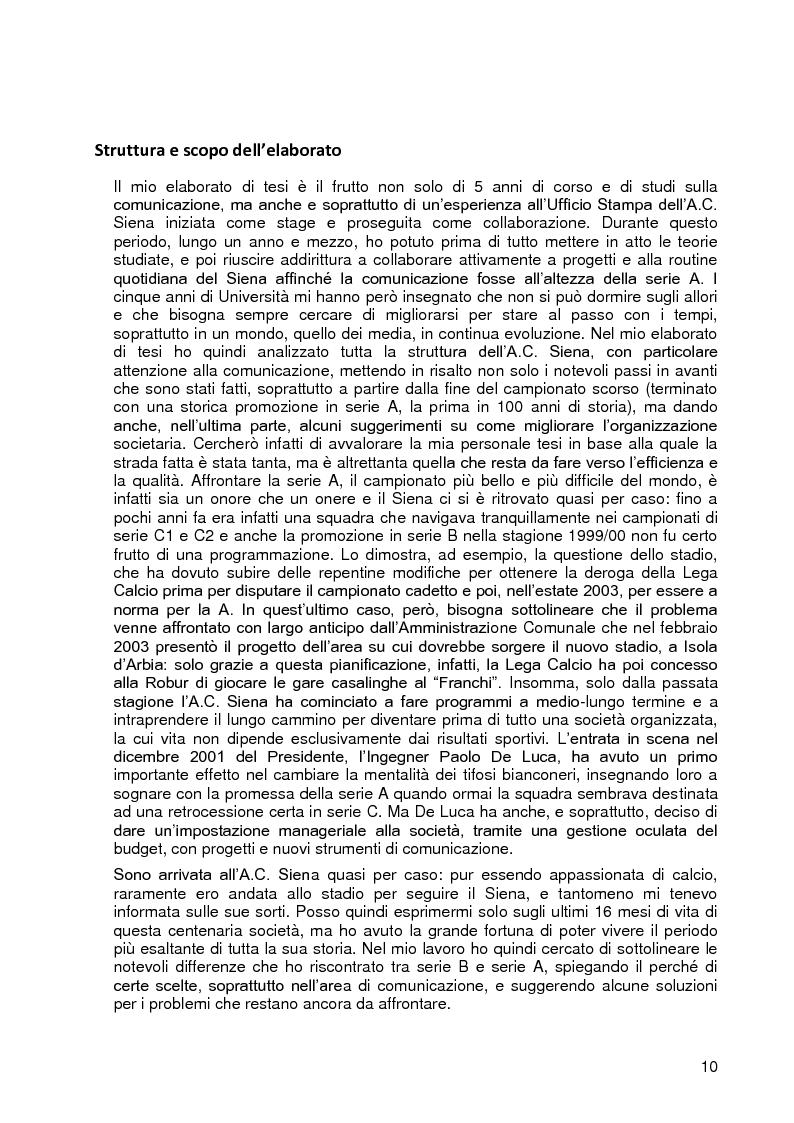 Anteprima della tesi: Progetto A.C. Siena: l'evoluzione della società e il ruolo strategico della comunicazione per la sfida della serie A, Pagina 8