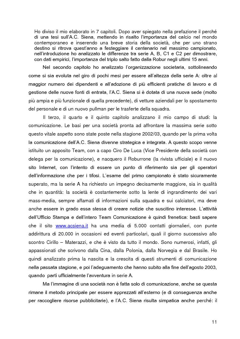 Anteprima della tesi: Progetto A.C. Siena: l'evoluzione della società e il ruolo strategico della comunicazione per la sfida della serie A, Pagina 9
