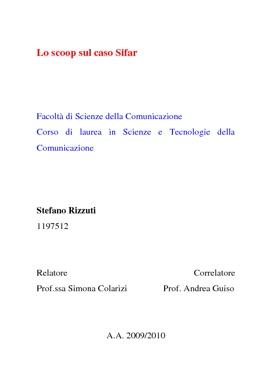 Anteprima della tesi: Lo scoop sul caso Sifar, Pagina 1