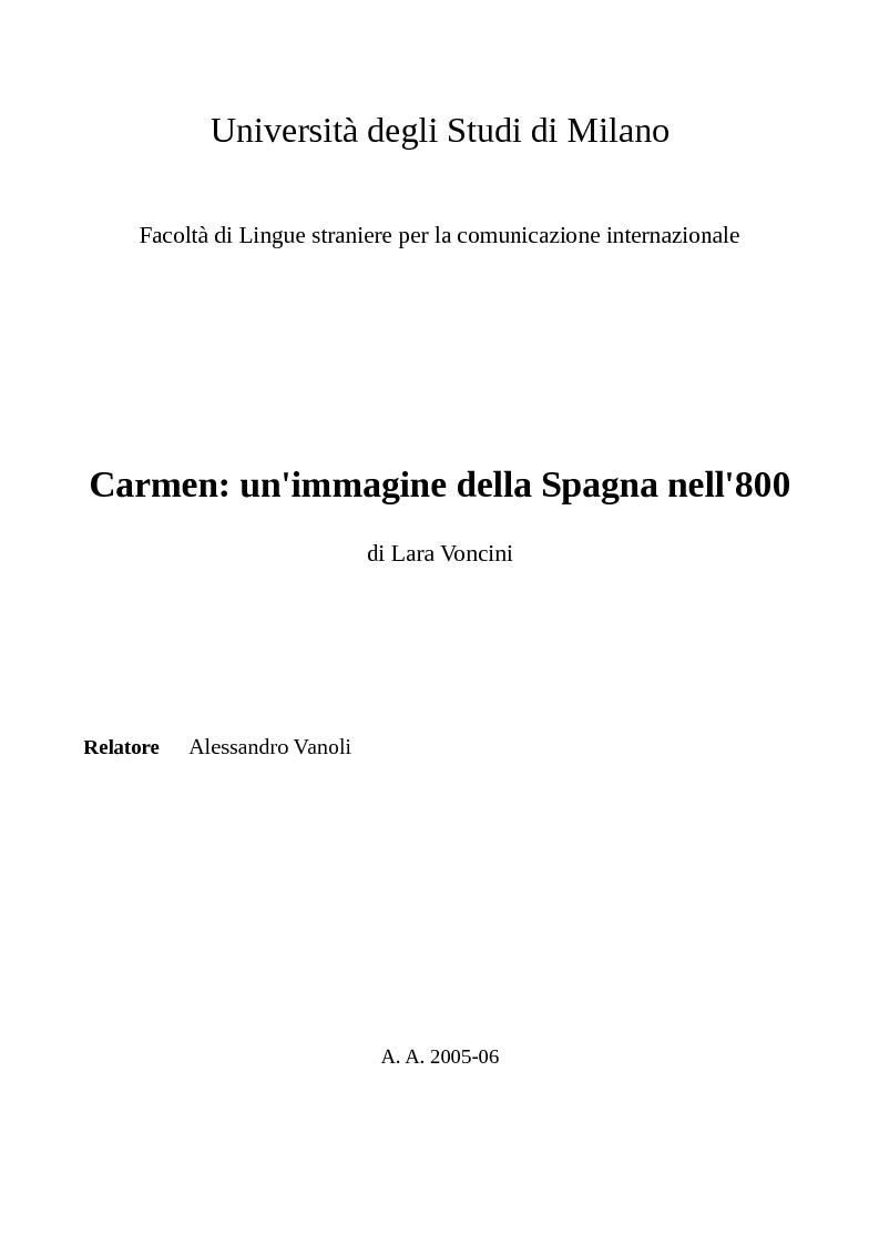 Anteprima della tesi: Carmen: un'immagine della Spagna nell'800, Pagina 1