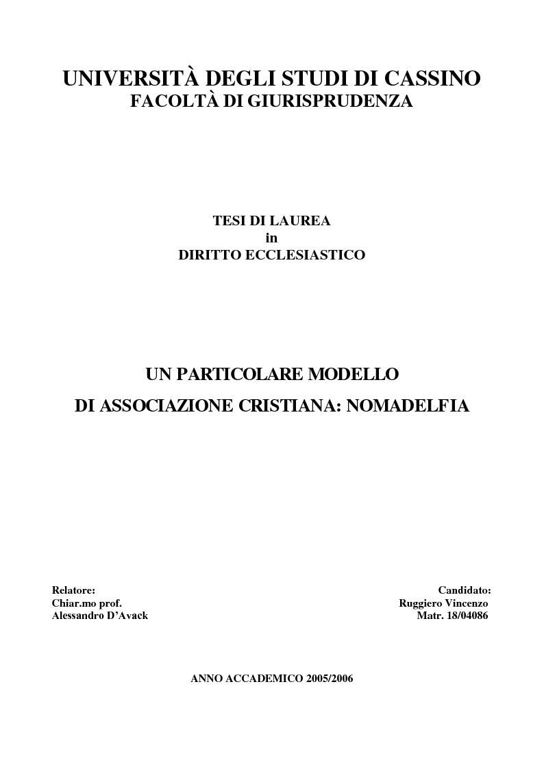 Anteprima della tesi: Un particolare modello di associazione cristiana: Nomadelfia, Pagina 1
