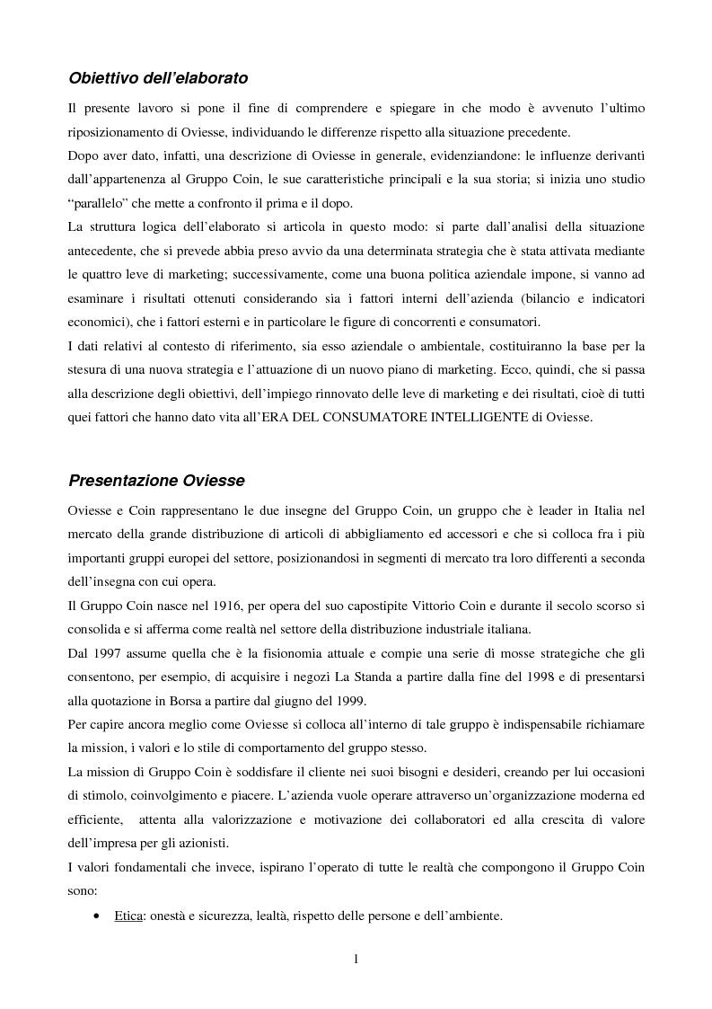 Anteprima della tesi: Oviesse: verso un nuovo posizionamento, Pagina 2
