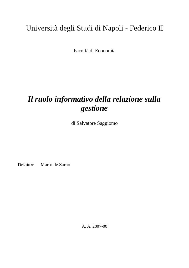 Anteprima della tesi: Il ruolo informativo della relazione sulla gestione, Pagina 1