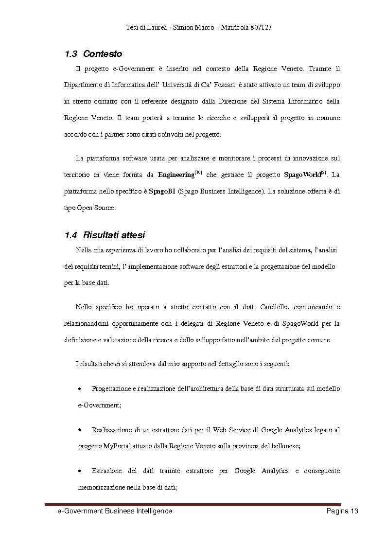 Anteprima della tesi: Analisi, Progettazione e Sviluppo di un Architettura Software nell'ambito dell'e-Government Business Intelligence, Pagina 5