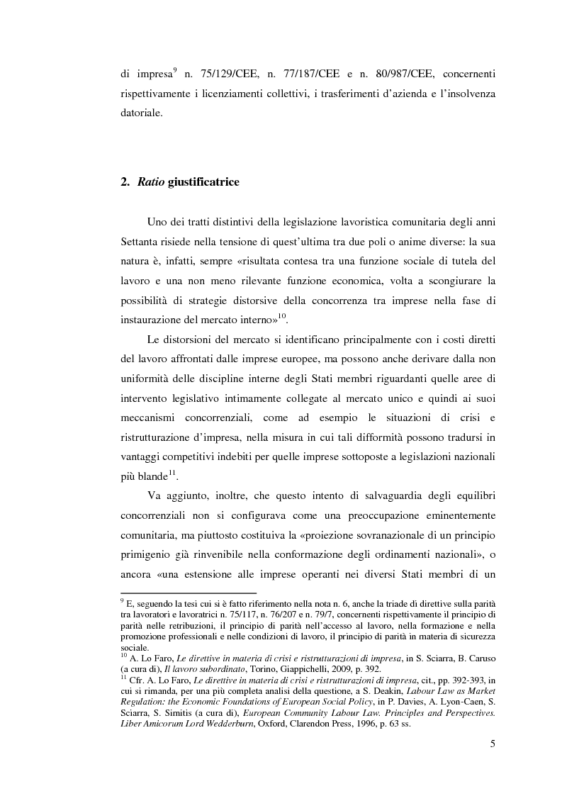 Anteprima della tesi: Le direttive comunitarie in materia di crisi e ristrutturazione d'impresa, Pagina 4