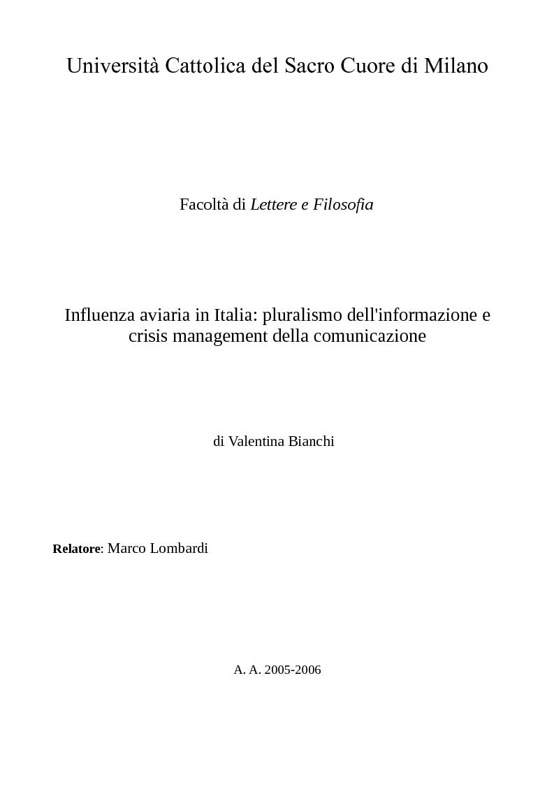 Anteprima della tesi: Influenza aviaria in Italia: pluralismo dell'informazione e crisis management della comunicazione, Pagina 1