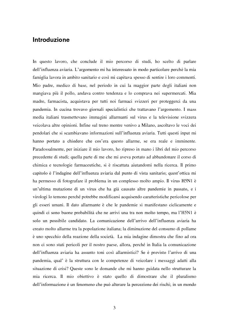 Anteprima della tesi: Influenza aviaria in Italia: pluralismo dell'informazione e crisis management della comunicazione, Pagina 2