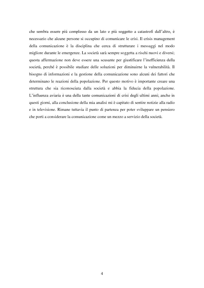 Anteprima della tesi: Influenza aviaria in Italia: pluralismo dell'informazione e crisis management della comunicazione, Pagina 3