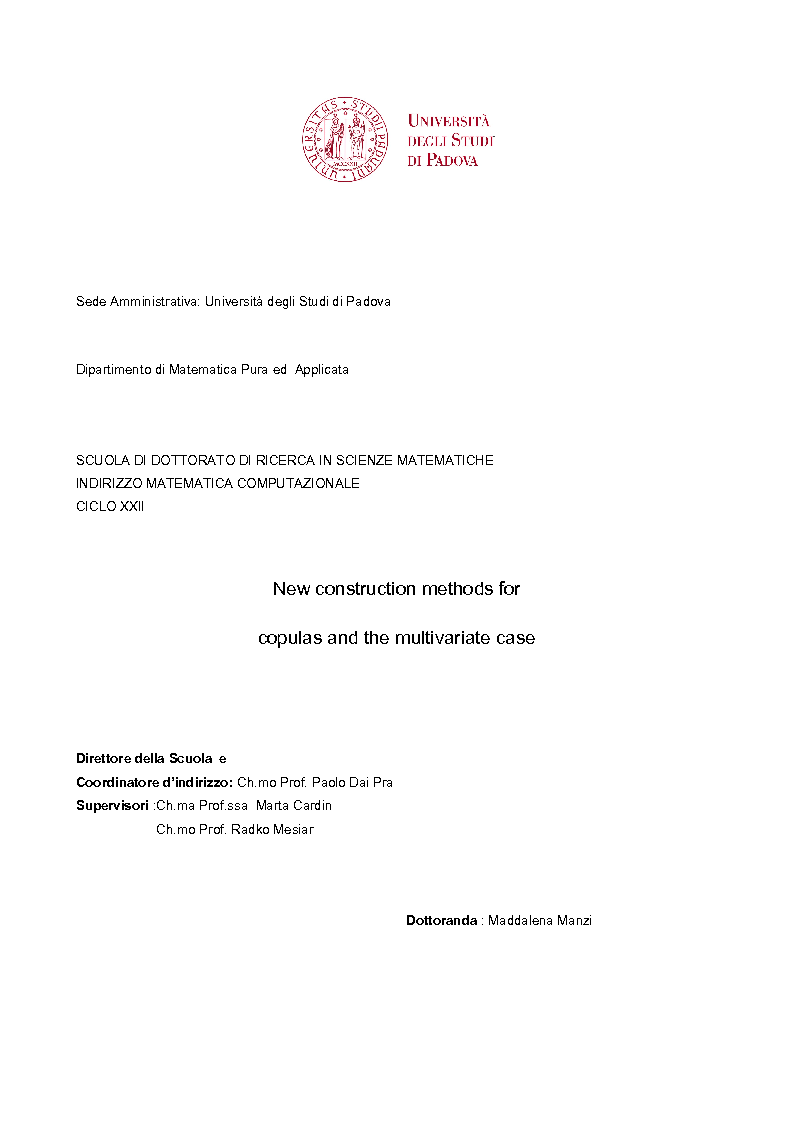 Anteprima della tesi: New construction methods for copulas and the multivariate case, Pagina 1